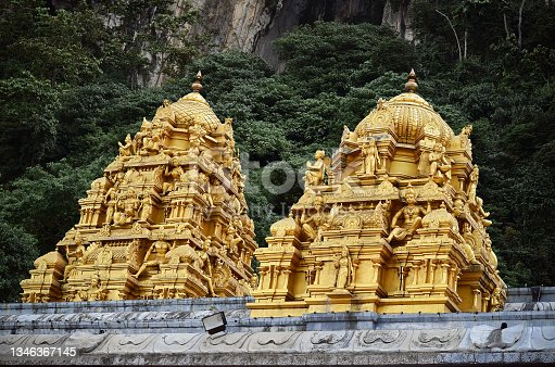 istock Golden Hindu Temple Dome at Sri Subramaniam, Batu Cave, Kuala Lumpur, Malaysia 1346367145