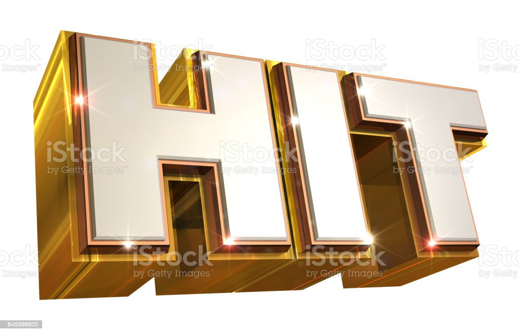 Golden Hit Logo - 3d illustration stock photo