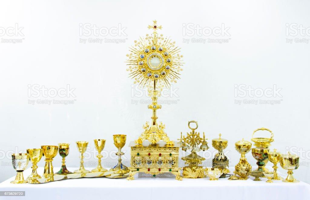 Or matériel religieux Sainte sur fond blanc photo libre de droits