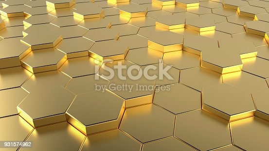 istock Golden Honeycomb hexagonal futuristic surface 931574962