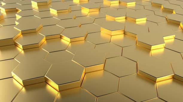 金色蜂窩六邊形未來表面 - 蜂巢式樣 個照片及圖片檔