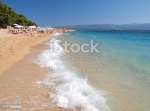 Golden Horn beach, Brac island, Croatia - June 23th 2012: Abstract from famous