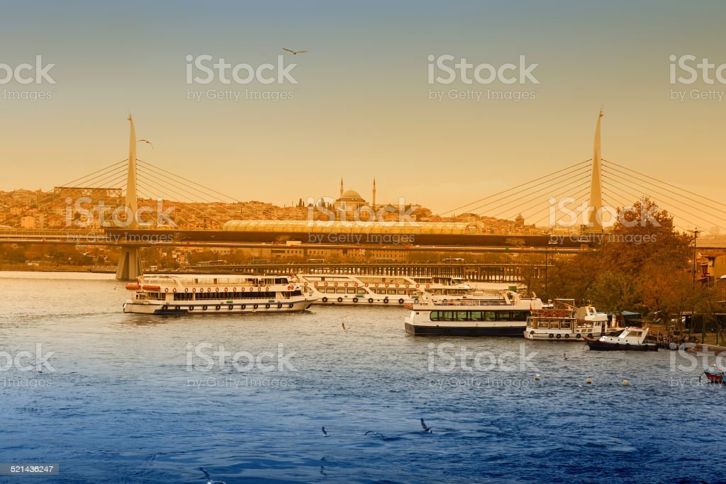 Golden Horn Metro bridge stock photo