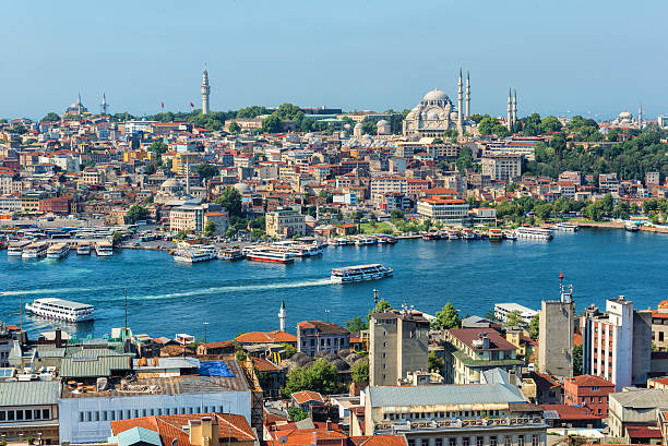 Golden Horn Ferry ships sail up and down the Golden Horn in Istanbul, Turkey. bosphorus stock pictures, royalty-free photos & images