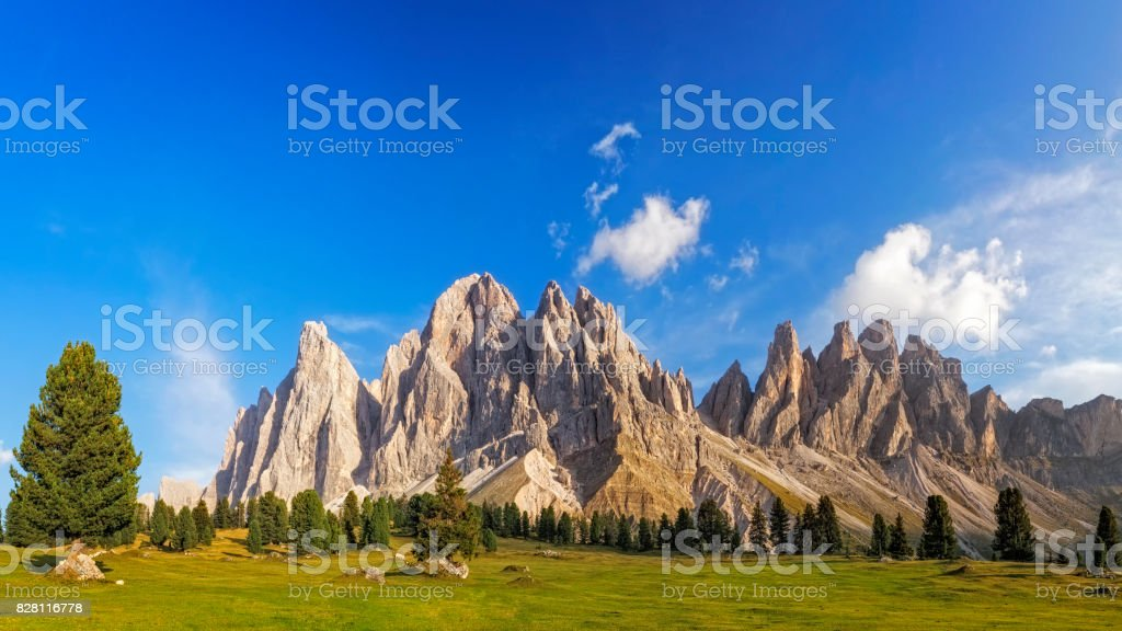Golden hour at Geisler Gruppe or Odle mountain group, XXL Panorama, Dolomites, Italy stock photo