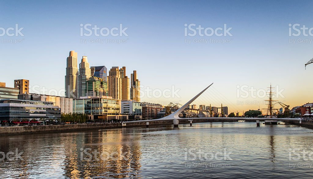 Golden Hour at Puente de La Mujer, Puerto Madero stock photo