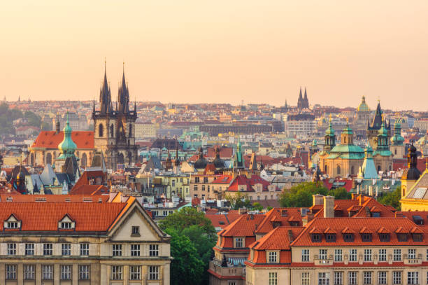 golden hour in Prague. Czech Republic Skyline view of Prague in the morning. Czech Republic tyn church stock pictures, royalty-free photos & images