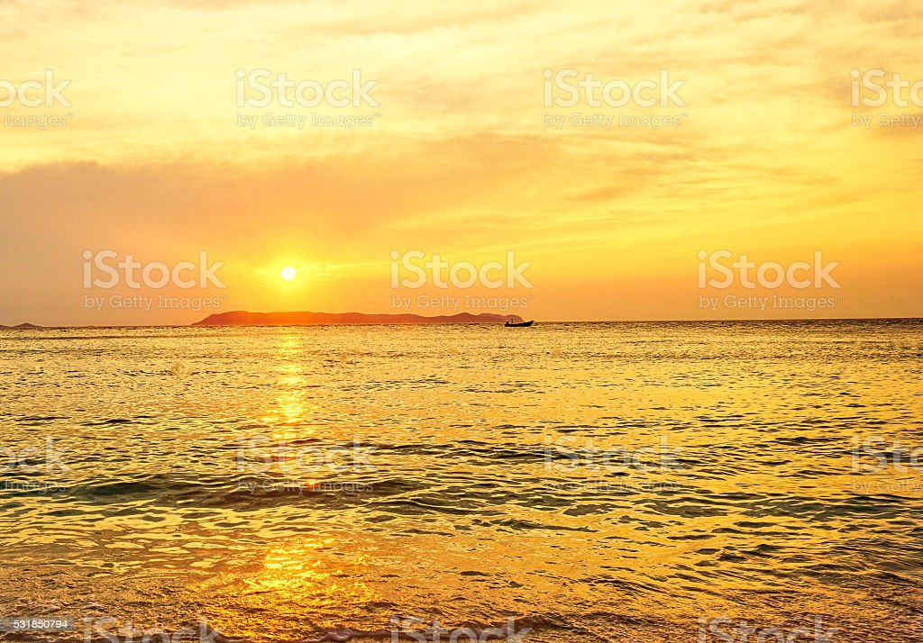 Golden hour in sunrise over the sea stock photo
