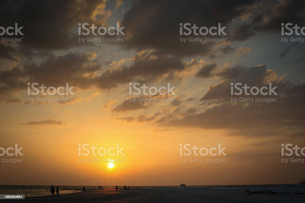 Golden hour on the beach stock photo