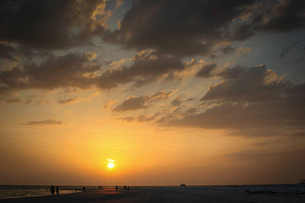 Golden hour on the beach stock photo