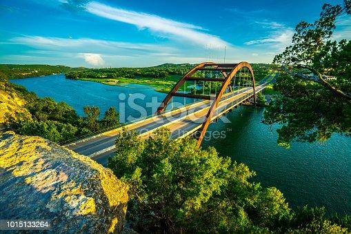 501329818istockphoto Golden Hour Shadows at Pennybacker Bridge in Austin , Texas , USA 1015133264