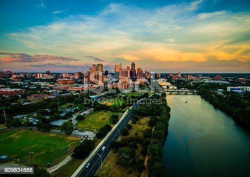 istock Golden Hour Sunset Aerial Drone View Over Austin Texas 609834888