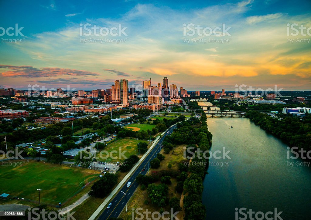 Golden Hour Sunset Aerial Drone View Over Austin Texas stock photo