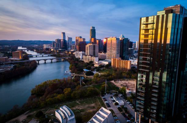 Golden Hour Sunset over Austin Texas Cityscape skyline stock photo