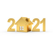 istock Golden house icon and number 2021 1270238847