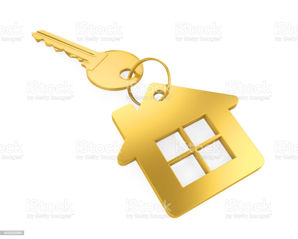 Golden House Key Isolated Stock Photo More Pictures of Business