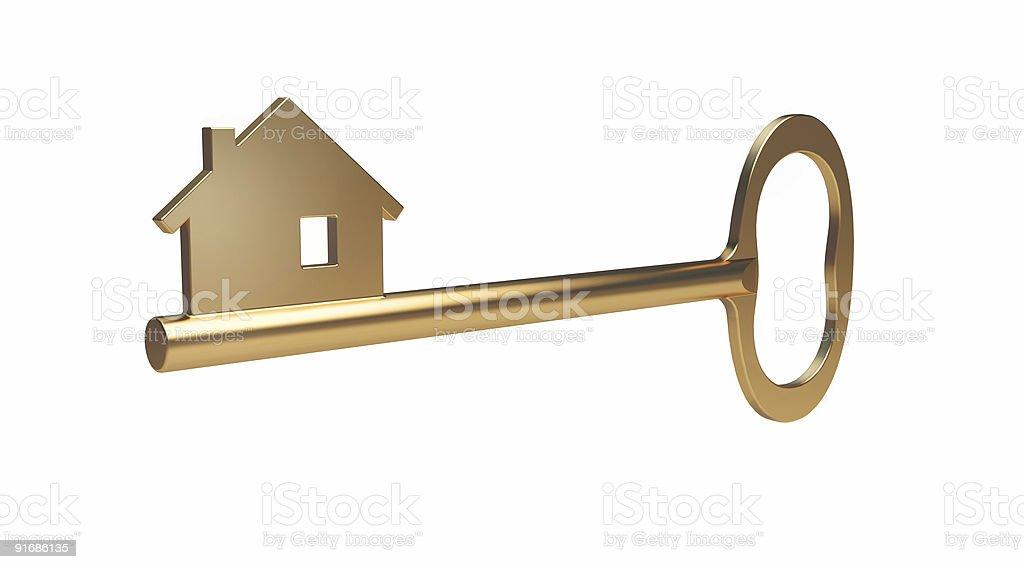 Golden House Key (Mortgage symbol) royalty-free stock photo