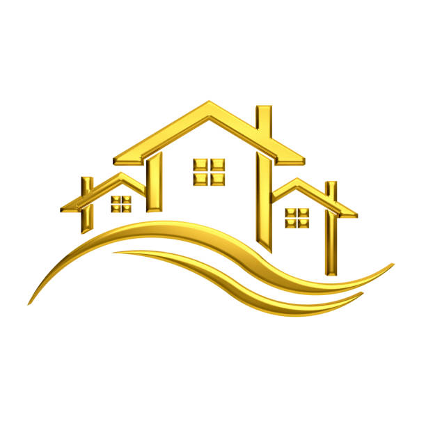 golden houses with waves. 3d rendering illustration - clip art stock photos and pictures