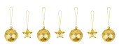 istock Golden Сhristmas tree decorations set white background isolated closeup, glass balls & gold metal stars hang on thread collection, shiny baubles, traditional new year holiday design element, xmas toys 1264183626