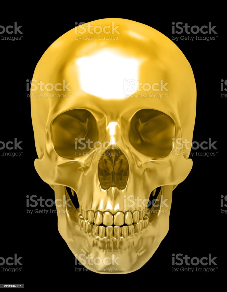 Golden human skull, isolated against the black background stock photo