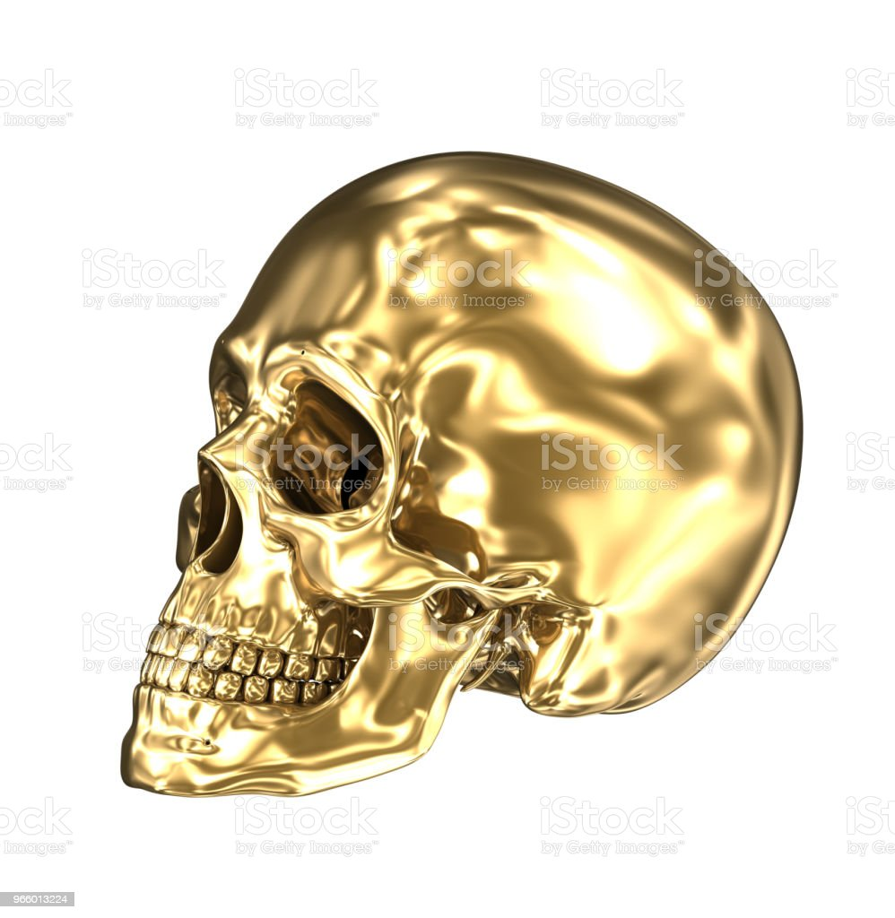 Golden human skull over white , 3D illustration - Royalty-free Adulto Foto de stock