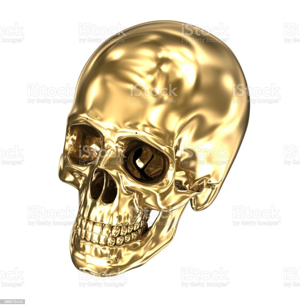 Gyllene mänsklig skalle över vita, 3D illustration - Royaltyfri Anatomi Bildbanksbilder
