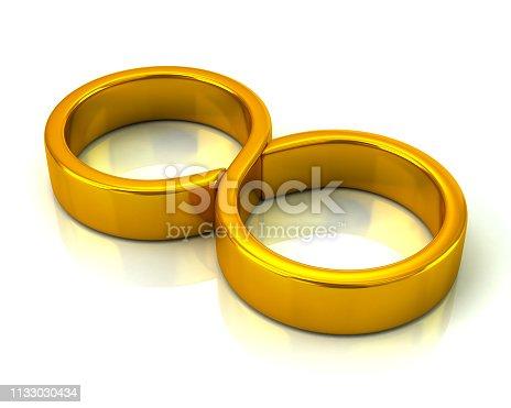 175960311 istock photo Golden infinity symbol icon 3d illustration 1133030434