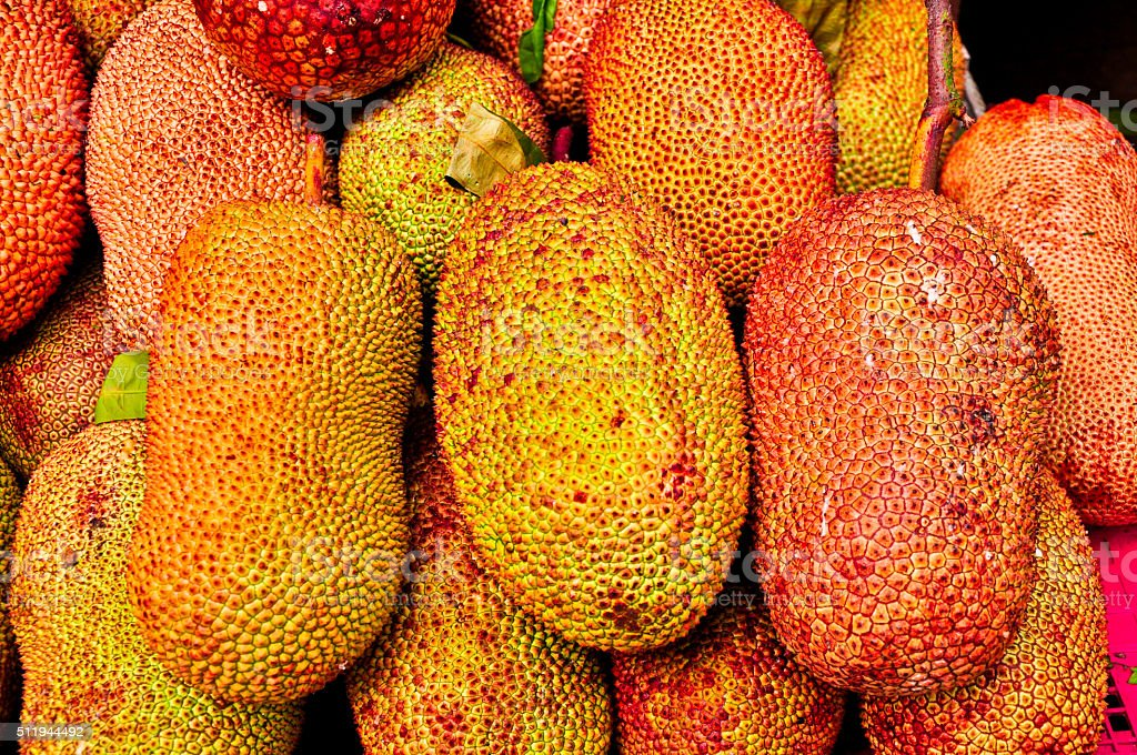 Golden Jack fruit for sale at the open market, Thailand stock photo