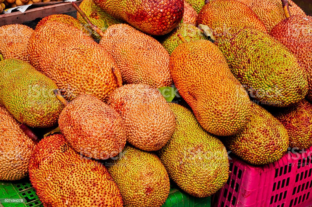 Golden Jack fruit for sale at the street market, Thailand stock photo