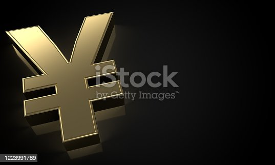 621262396 istock photo golden Japanese Yen sign (clipping path) 1223991789
