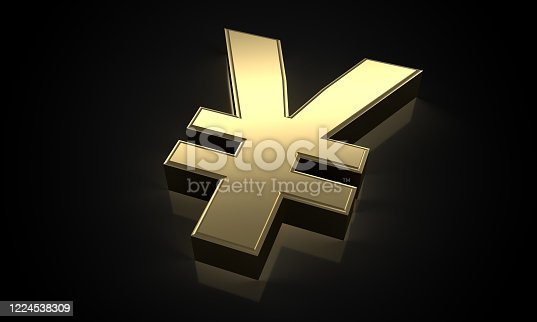621262396 istock photo golden Japanese Yen sign (clipping path) 1224538309