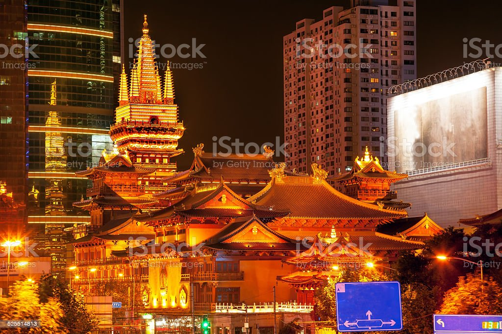 golden jing an temple shanghai china night stock photo more