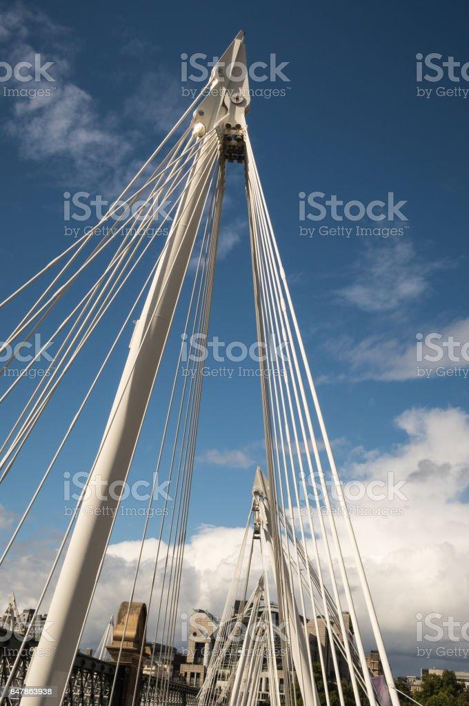 Golden Jubilee Bridge in London over the Thames stock photo