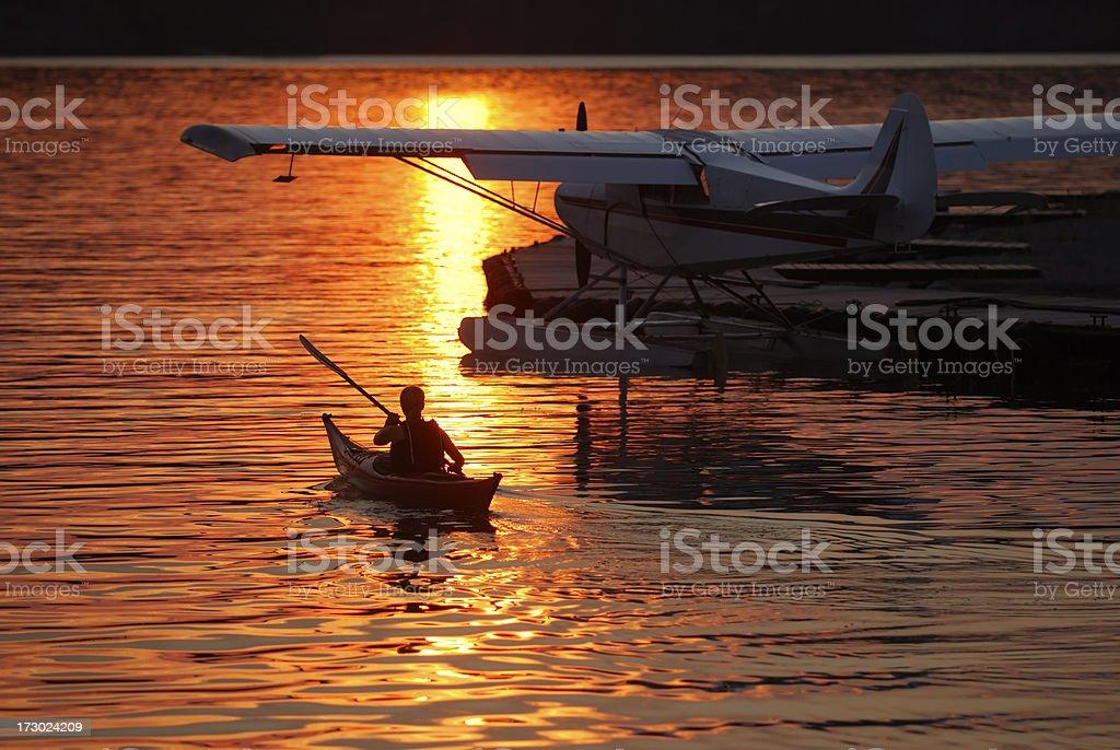 Golden Kayak, Yellowknife. stock photo
