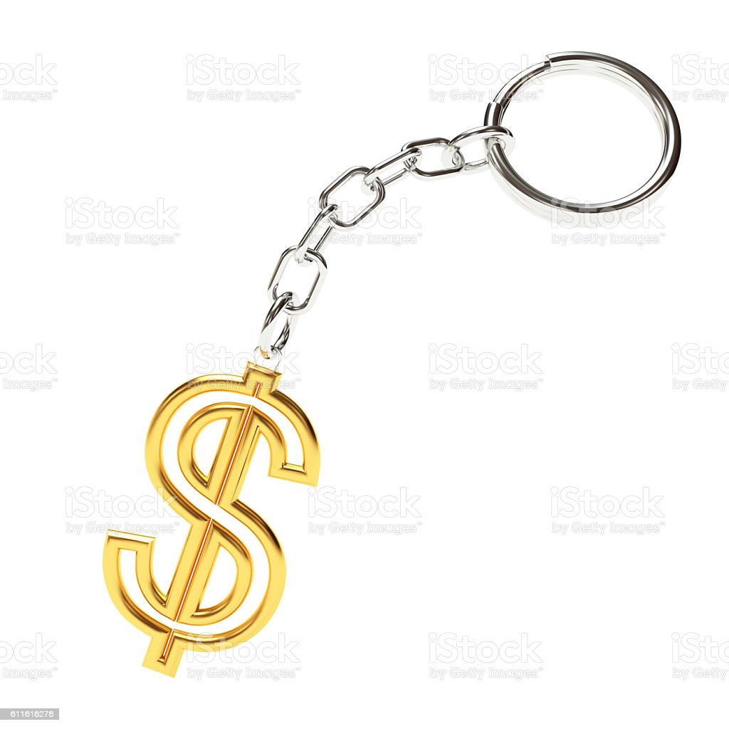 Golden key chain with dollar sign on white stock photo