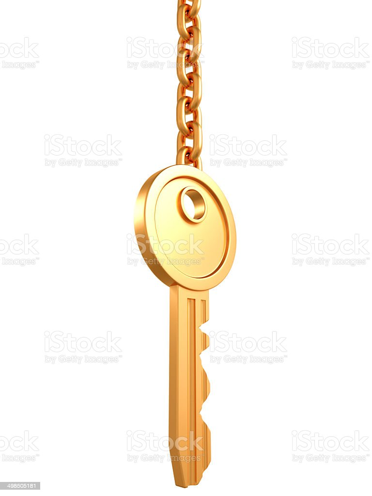 golden key with chain isolated on white stock photo