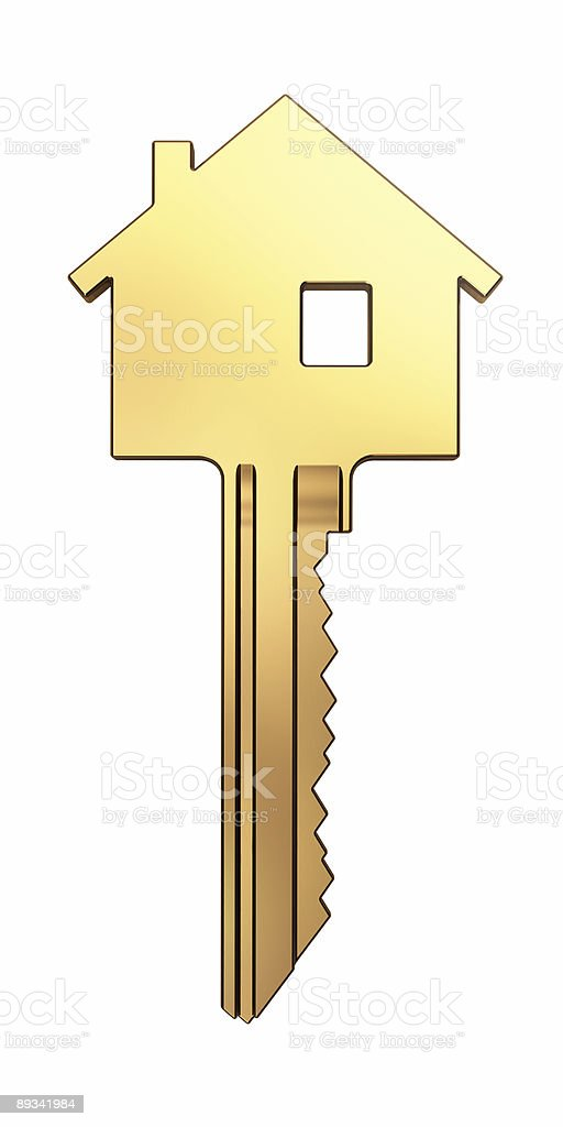 Golden key with house shaped top part stock photo