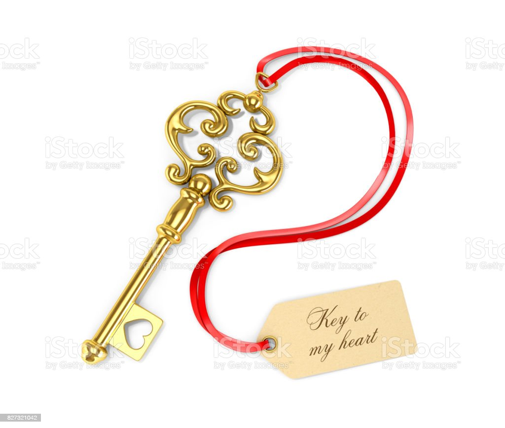 Golden key with tags. Key to the heart. 3D illustration stock photo