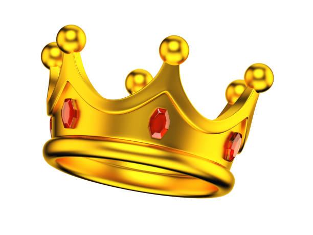 goldene königskrone isoliert auf weißem hintergrund - prinzenkrone stock-fotos und bilder