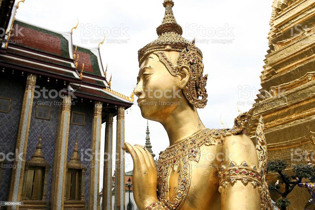 golden kinnari bangkok grand palace royalty-free stock photo