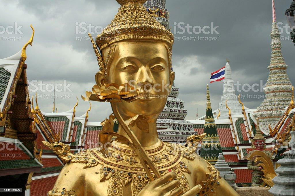golden kinnari grand palace bangkok thailand royalty-free stock photo