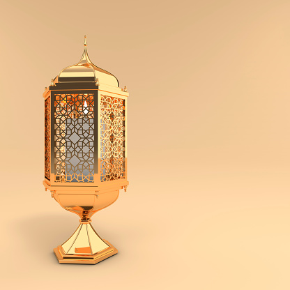 istock Golden lantern with candle, lamp with arabic decoration, arabesque design. Concept for islamic celebration day ramadan kareem or eid al fitr adha. 3d rendering illustration 1139759958