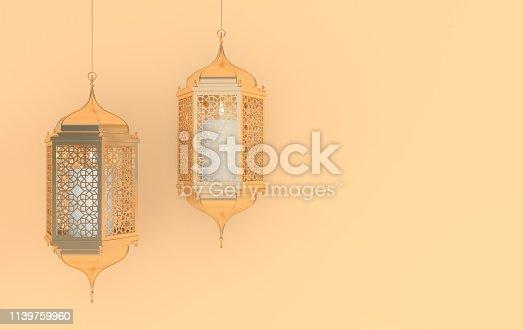 istock Golden lantern with candle, lamp with arabic decoration, arabesque design. Concept for islamic celebration day ramadan kareem or eid al fitr adha. 3d rendering illustration 1139759960