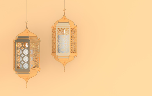 istock Golden lantern with candle, lamp with arabic decoration, arabesque design. Concept for islamic celebration day ramadan kareem or eid al fitr adha. 3d rendering illustration 1139759960