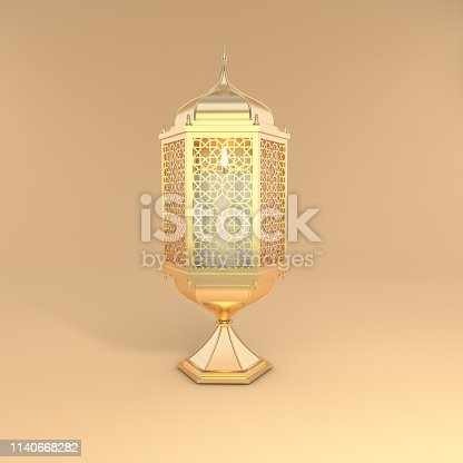 istock Golden lantern with candle, lamp with arabic decoration, arabesque design. Concept for islamic celebration day ramadan kareem or eid al fitr adha. 3d rendering illustration 1140668282