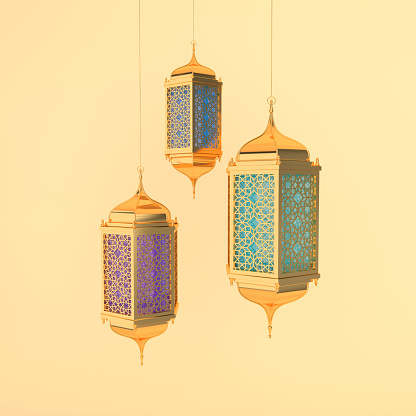 istock Golden lantern with colorful glass, lamp with arabic decoration, arabesque design. Concept for islamic celebration day ramadan kareem or eid al fitr adha. 3d rendering illustration 1139760108