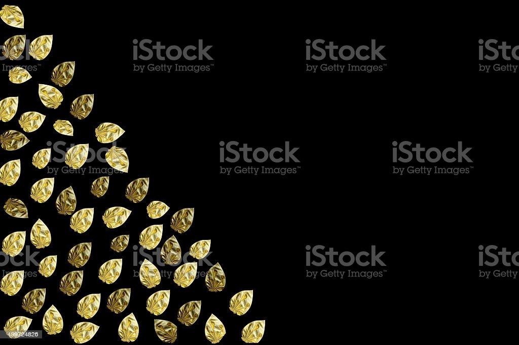 Golden Leaf On Black Background stock photo