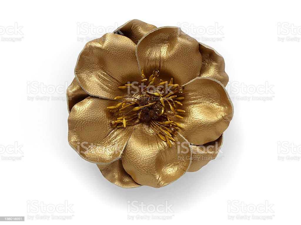 Golden leather flower stock photo