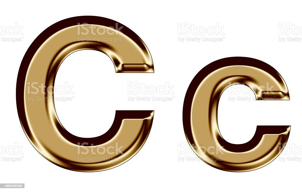 Golden letter C,c on white background stock photo