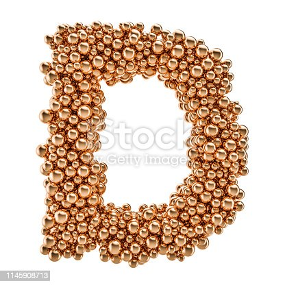 184385936 istock photo Golden letter D from gold balls, 3D rendering isolated on white background 1145908713